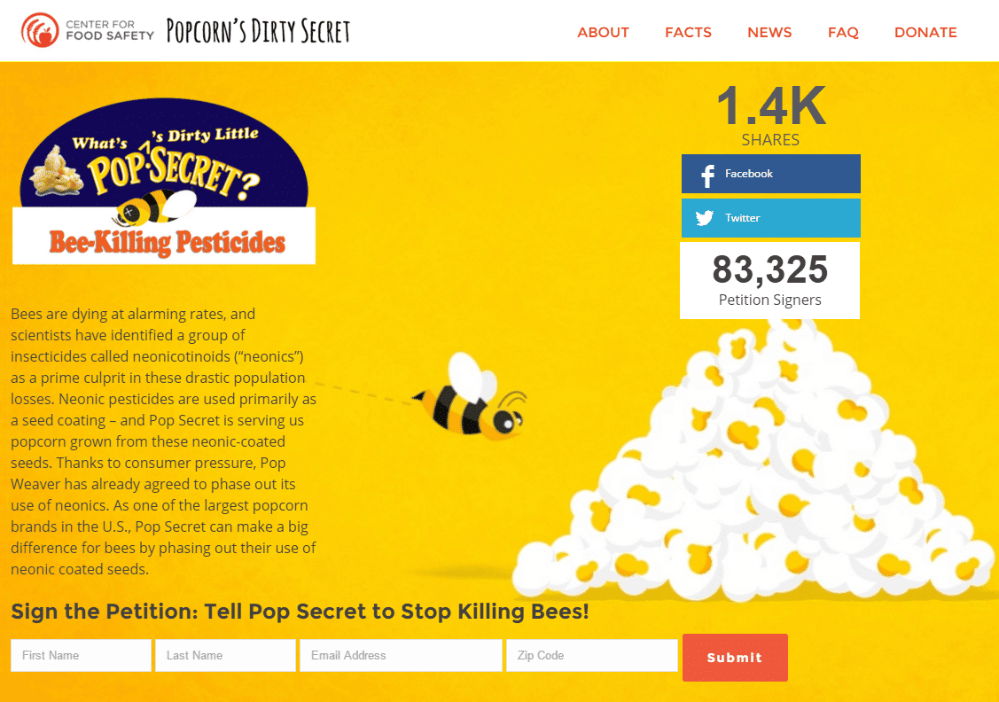 Screenshot of Pollinators and Your Plate Campaign