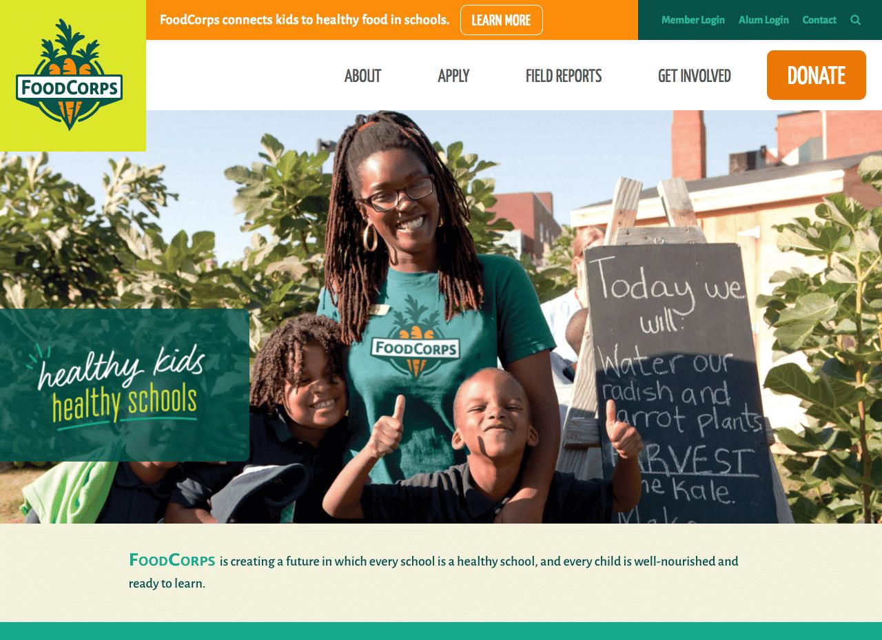 Screenshot of FoodCorps