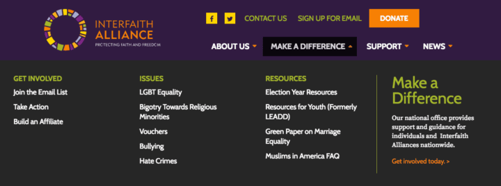 A screenshot of the Interfaith Alliance mega menu exemplifies WordPress menu best practices, showing how font colors and link placement make a difference in the structure of the mega menu.