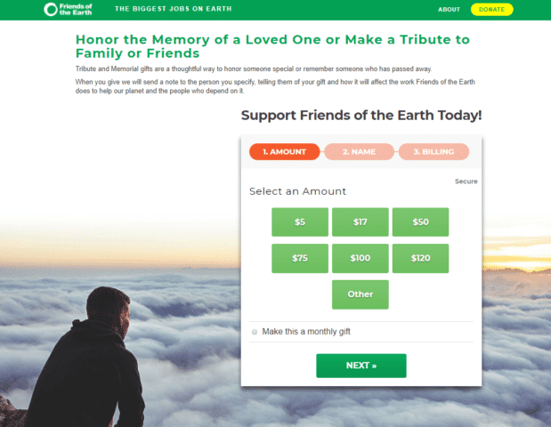 Friends of the Earth multistep donation form