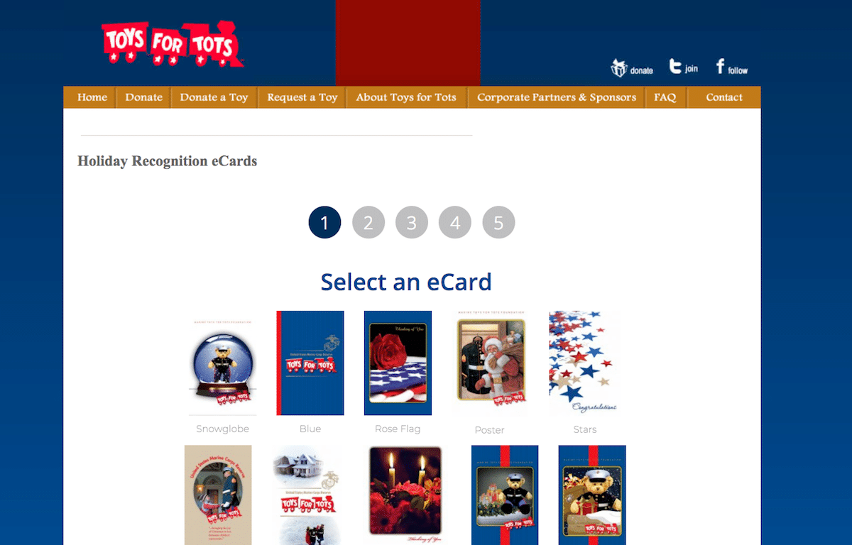 Screenshot of eCard Campaigns Add Joy to Toys for Tots' Holiday Fundraising