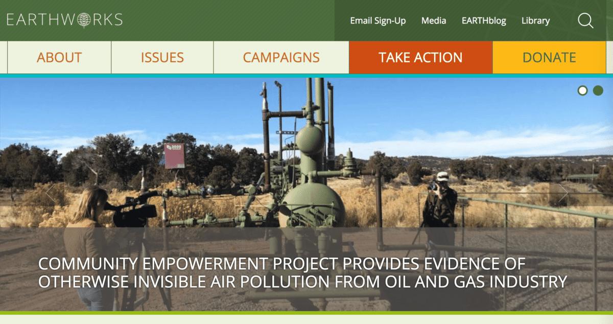 Screenshot of Earthworks Action Website