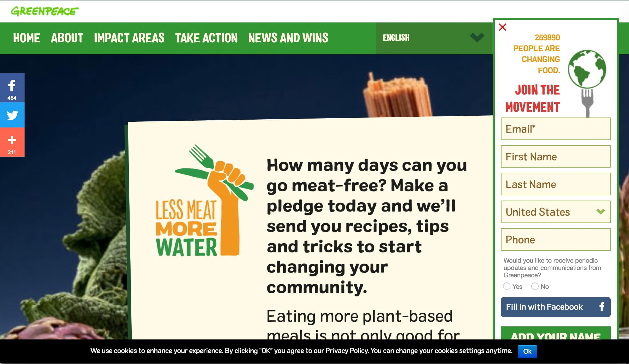 """Screenshot of """"Less is More"""" Microsite Advocates for Less Meat Consumption"""