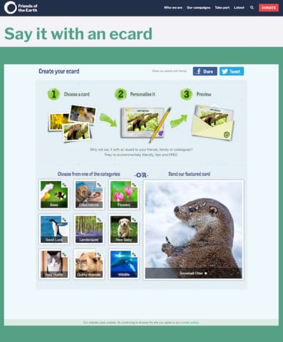 """Friends of the Earth's ecard campaign form starts with explaining steps 1, 2, and 3 and provides different category options such as """"New Baby"""" and """"Congratulations."""""""