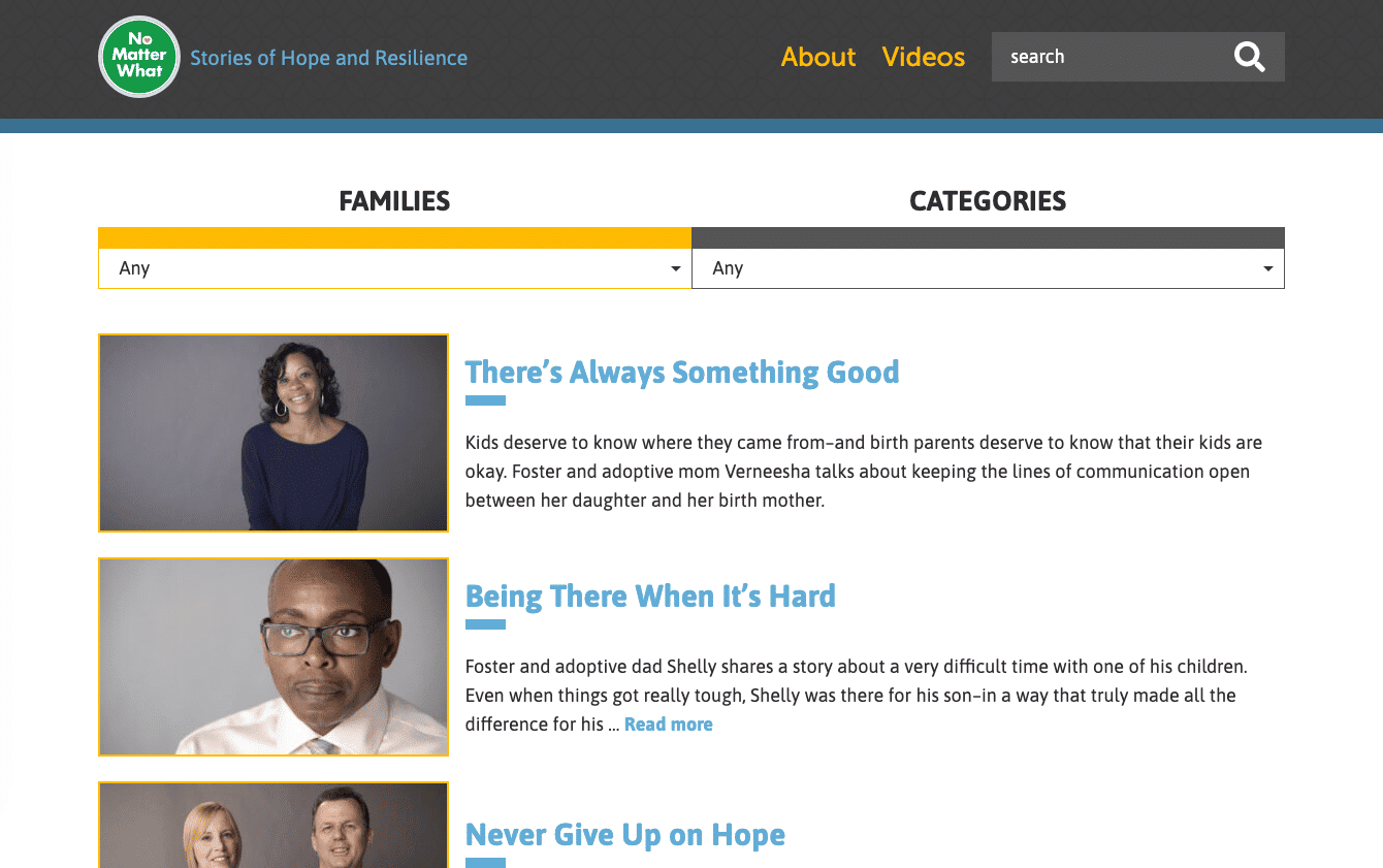 Screenshot of Microsite Uplifts Family Experiences in Foster Care and Adoption