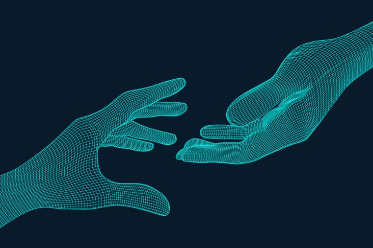 Two digital sketches of hands reach out for Giving Tuesday Now