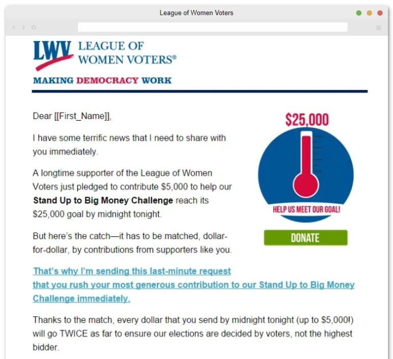Here is one of our favorite digital fundraising campaigns from the League of Women Voters.