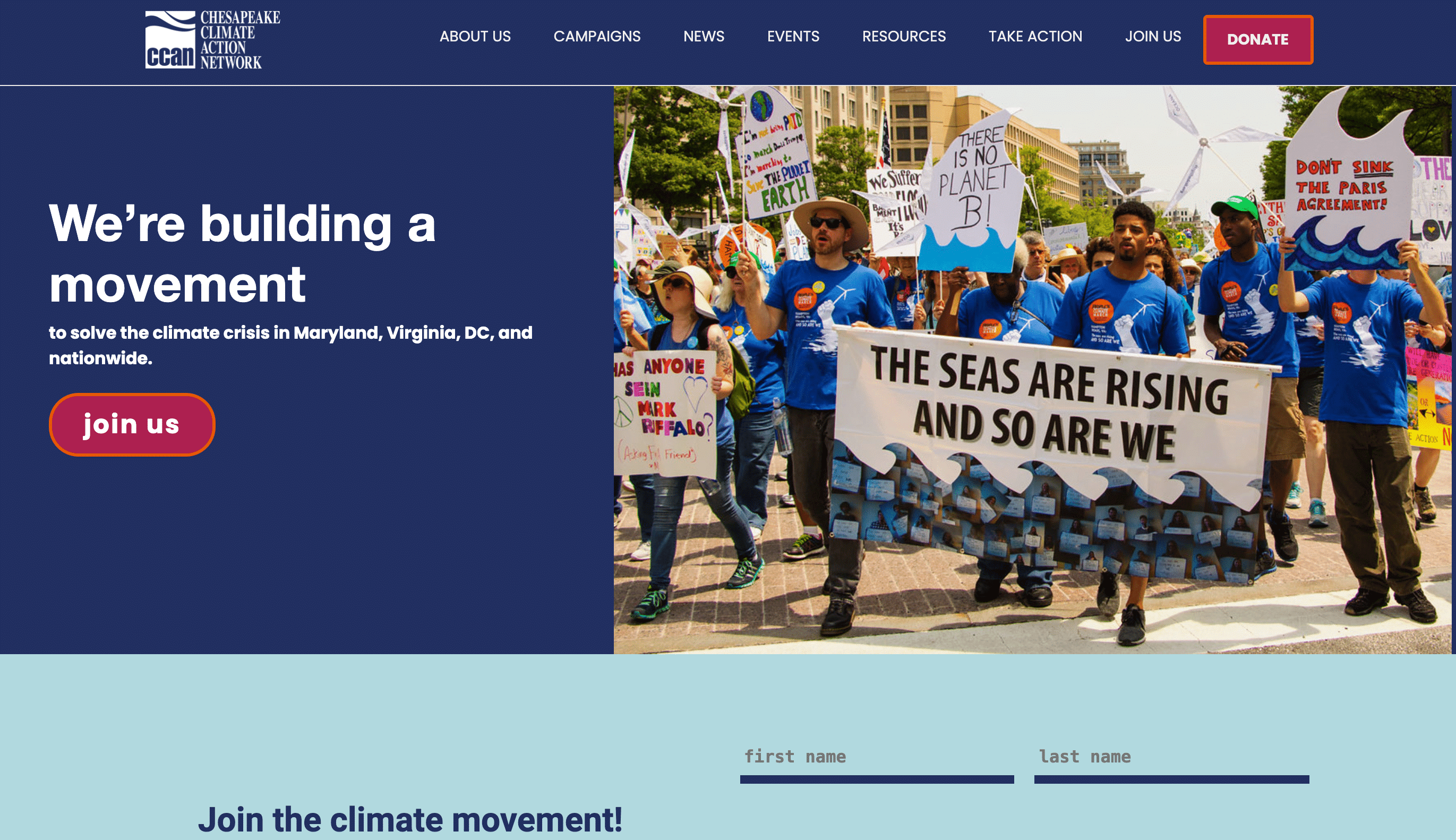 Screenshot of Grassroots Org Increases Site Action Engagement With New Website Design