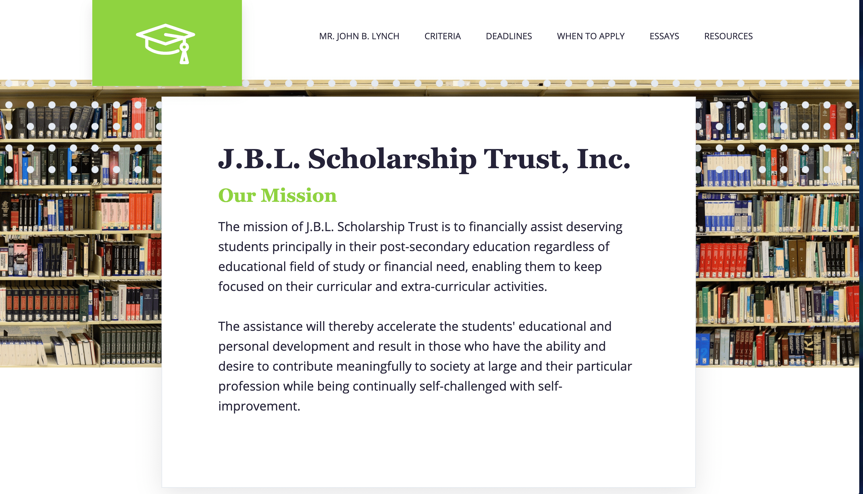 Screenshot of Improved Website Supports Easier Scholarship Application Forms