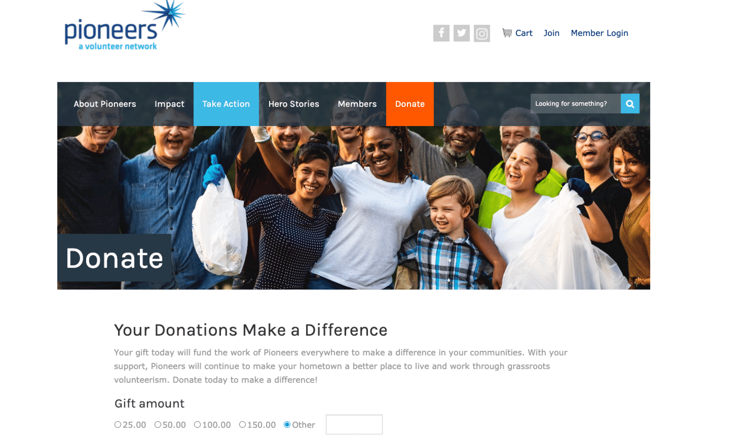 Screenshot of PioneersVolunteer.org Reaches Supporters with Strategic Campaign Implementation
