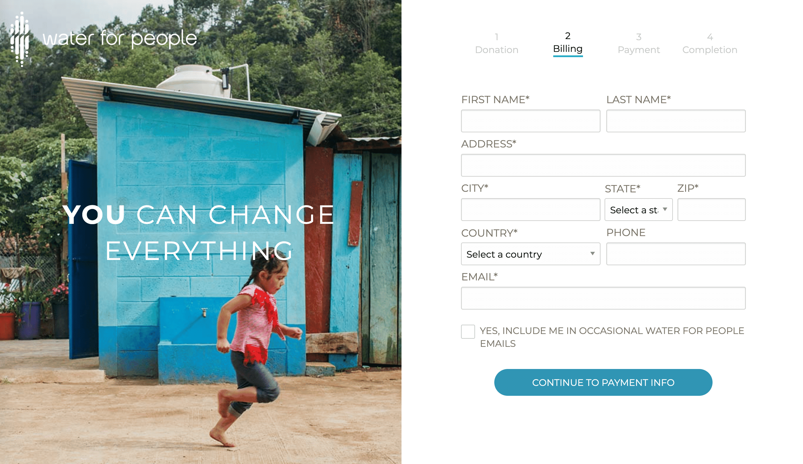 Screenshot of Fresh Donation Forms Engage Supporters with Impactful Images