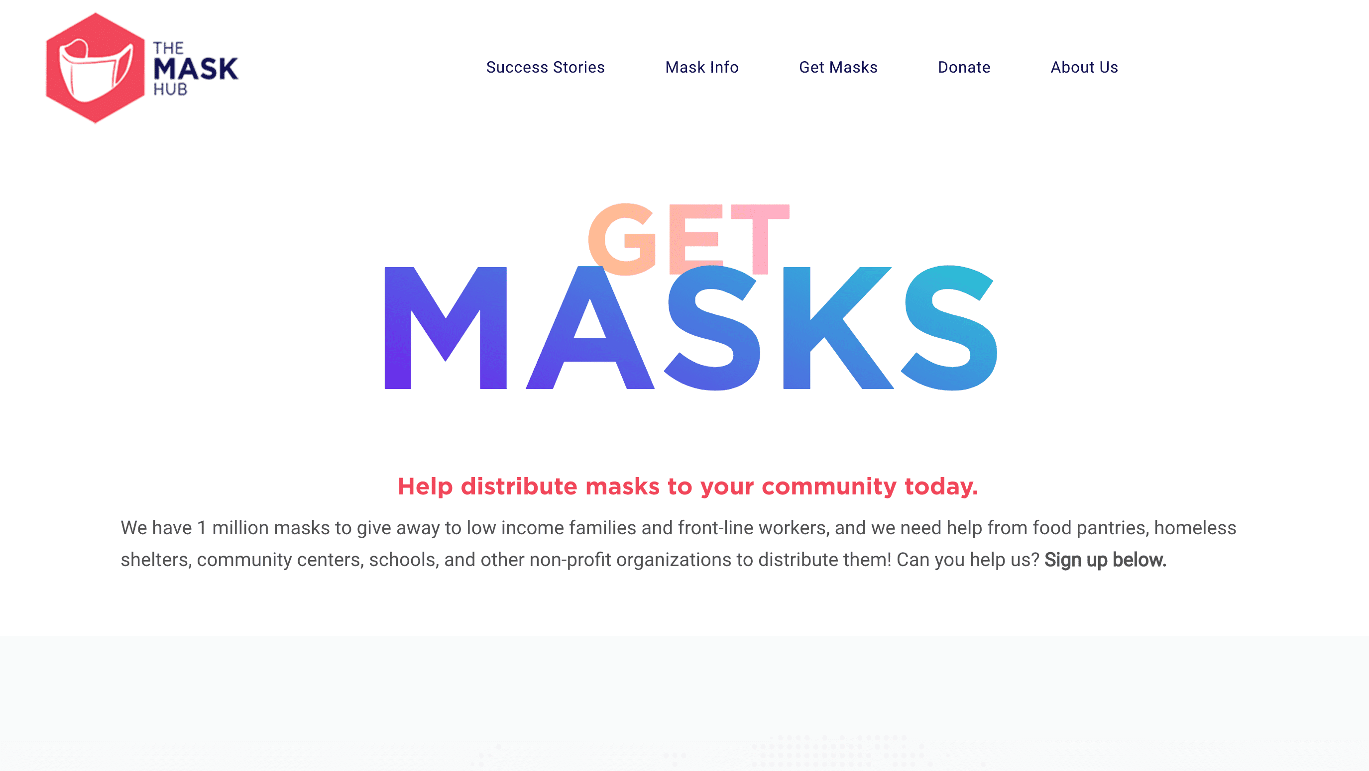 Screenshot of TheMaskHub.org Distributes Free Masks and Raises Over $20,000 for Nonprofits With New Website