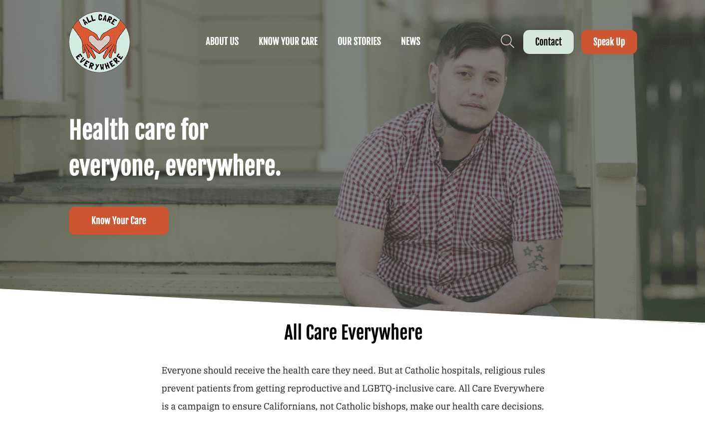 Screenshot of All Care Everywhere Advocates for Better Health Services With a Custom Campaign Site