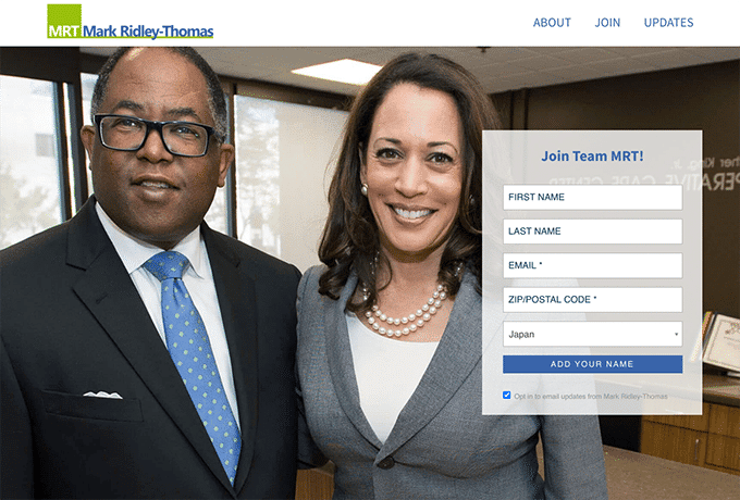 Mark Ridley-Thomas's campaign page lets supports sign up immediately by placing its get involved form at the top of the page.