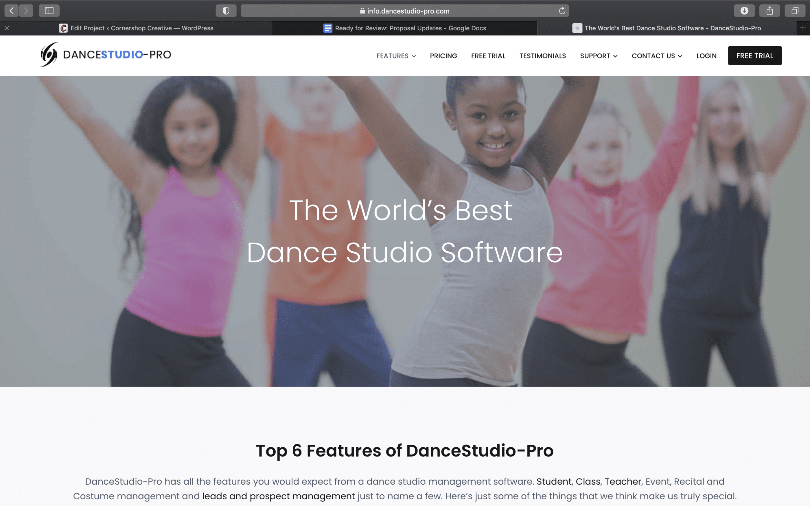 Screenshot of Software Company Celebrates Diverse Dancers With New WordPress Marketing Site