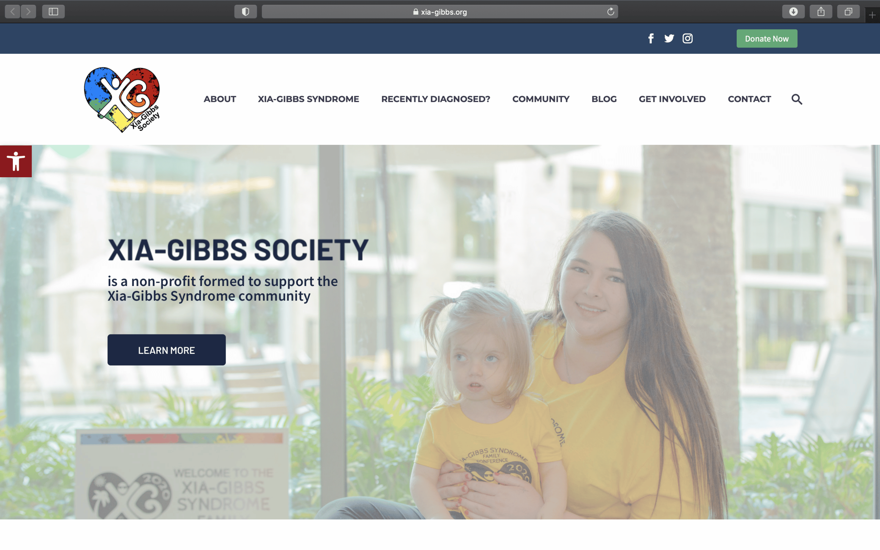 Screenshot of Society Raises Xia-Gibbs Syndrome Awareness and Funds with New Website