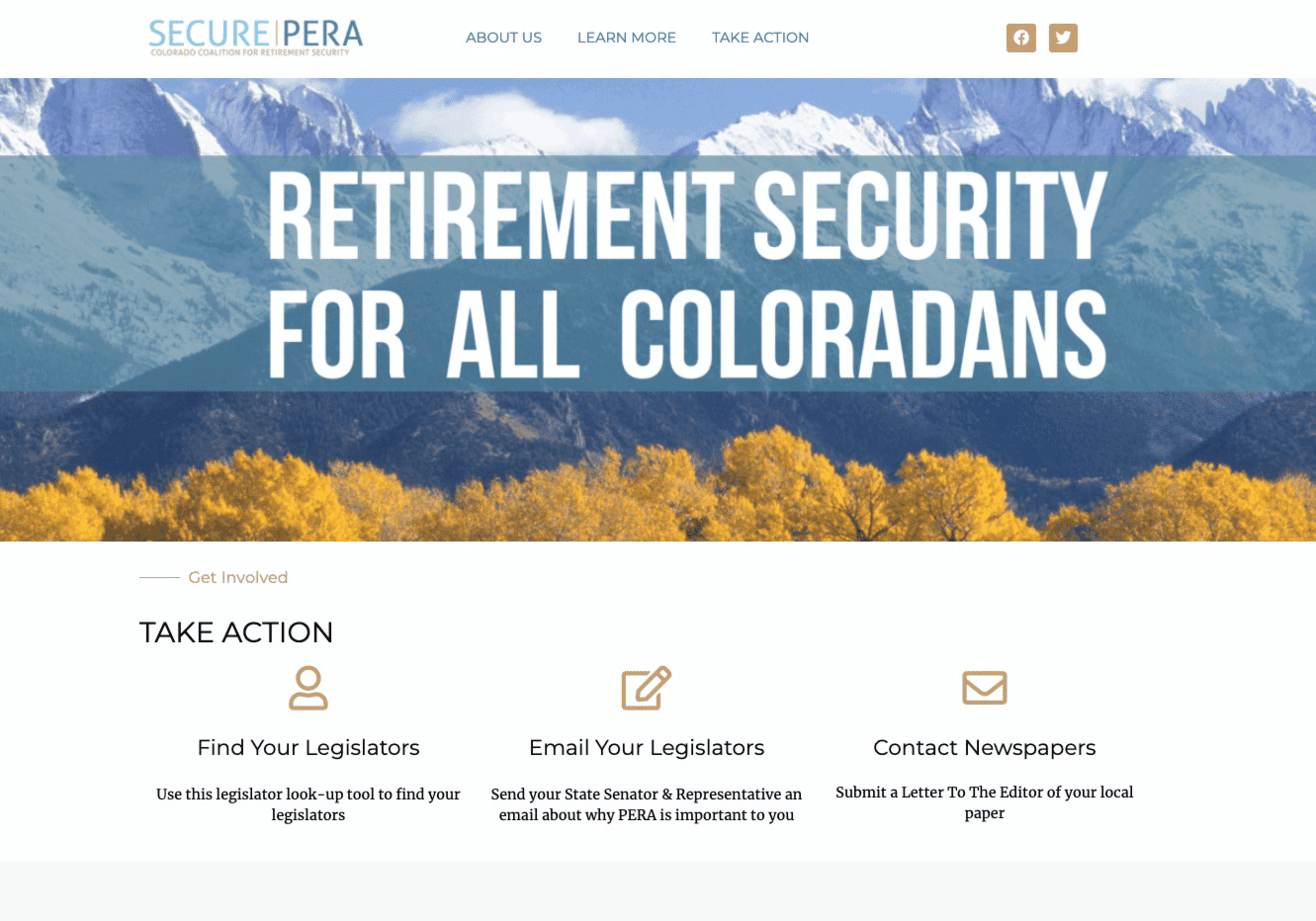 Screenshot of Public Employees Use New Website to Protect Their Pensions