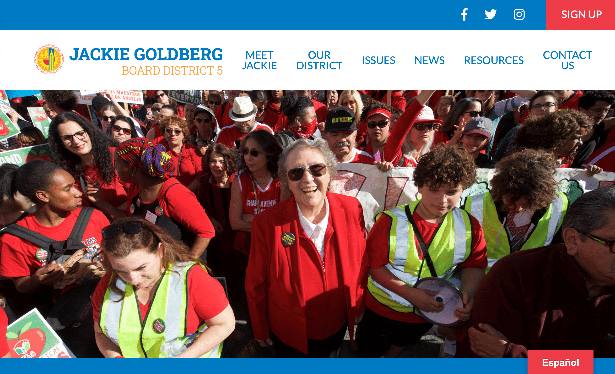 Jackie Goldberg's website features a bold hero image.