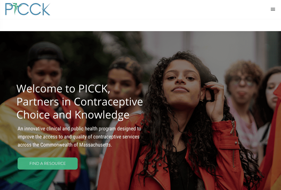 PICCK's website uses a large hero image to establish their brand identity.