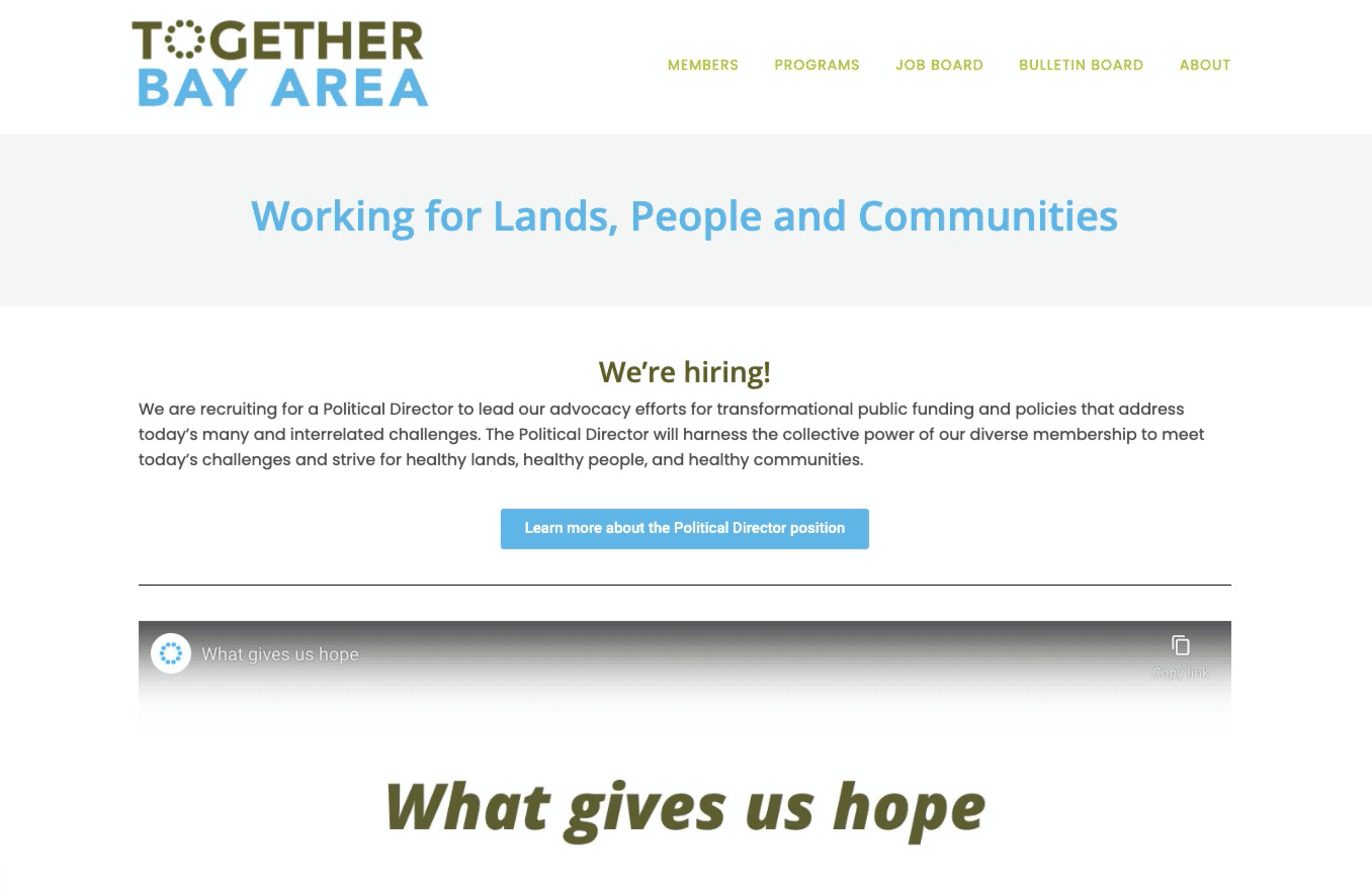Screenshot of New Coalition Builds Website Encouraging Community Engagement with Parks