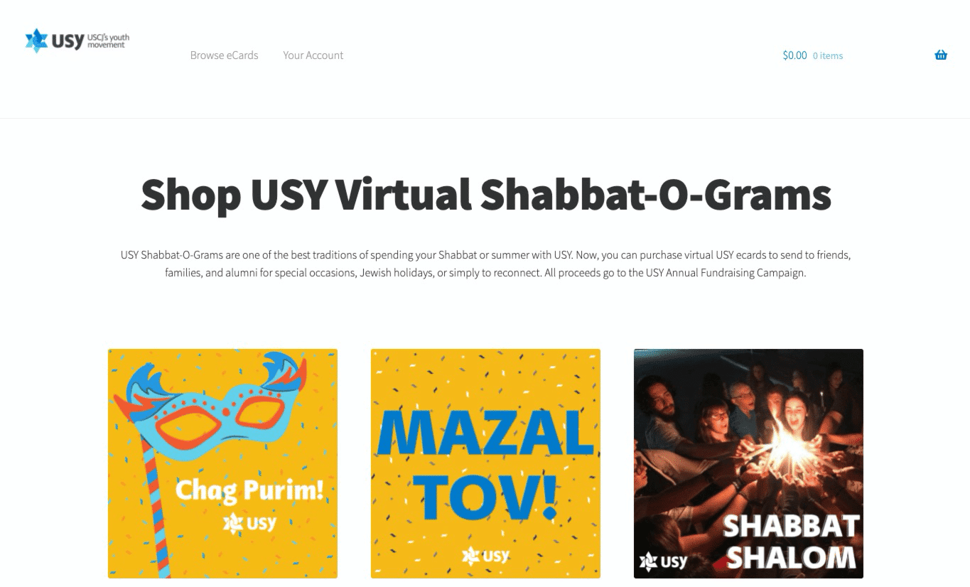Screenshot of United Synagogue Youth Grows Supporter Engagement and Fundraising with eCards Campaigns