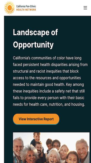 Screenshot of California Pan-Ethnic Health Network Mobile Website