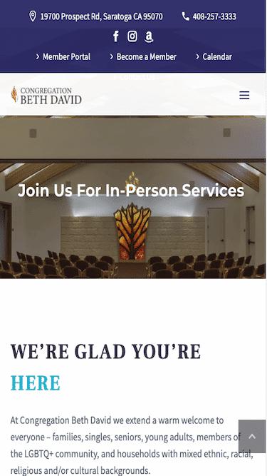 Screenshot of Congregation Beth David Mobile Website