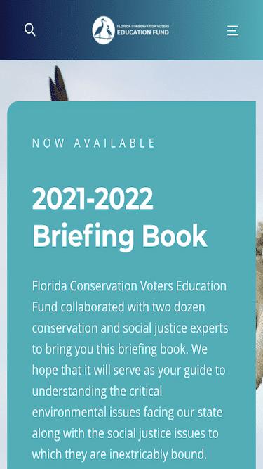Screenshot of Florida Conservation Voters (FCV) Mobile Website