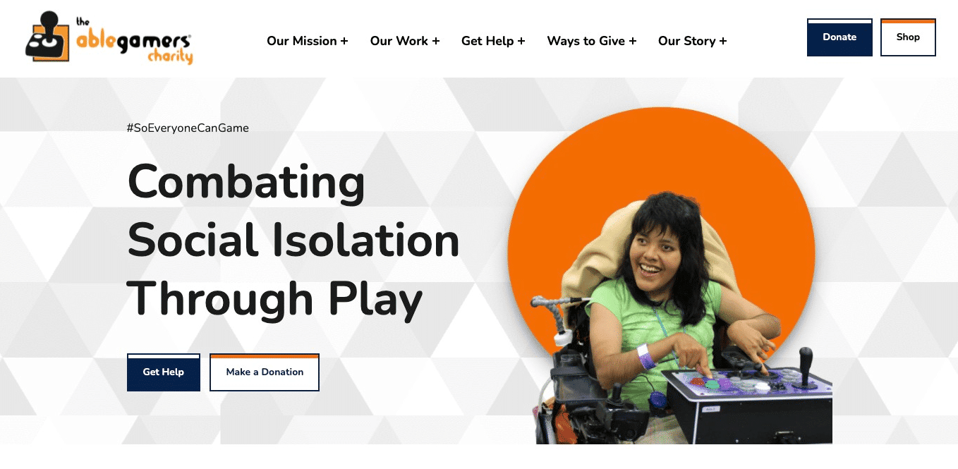 Screenshot of Website Supports Advocacy for a More Accessible Gaming Community