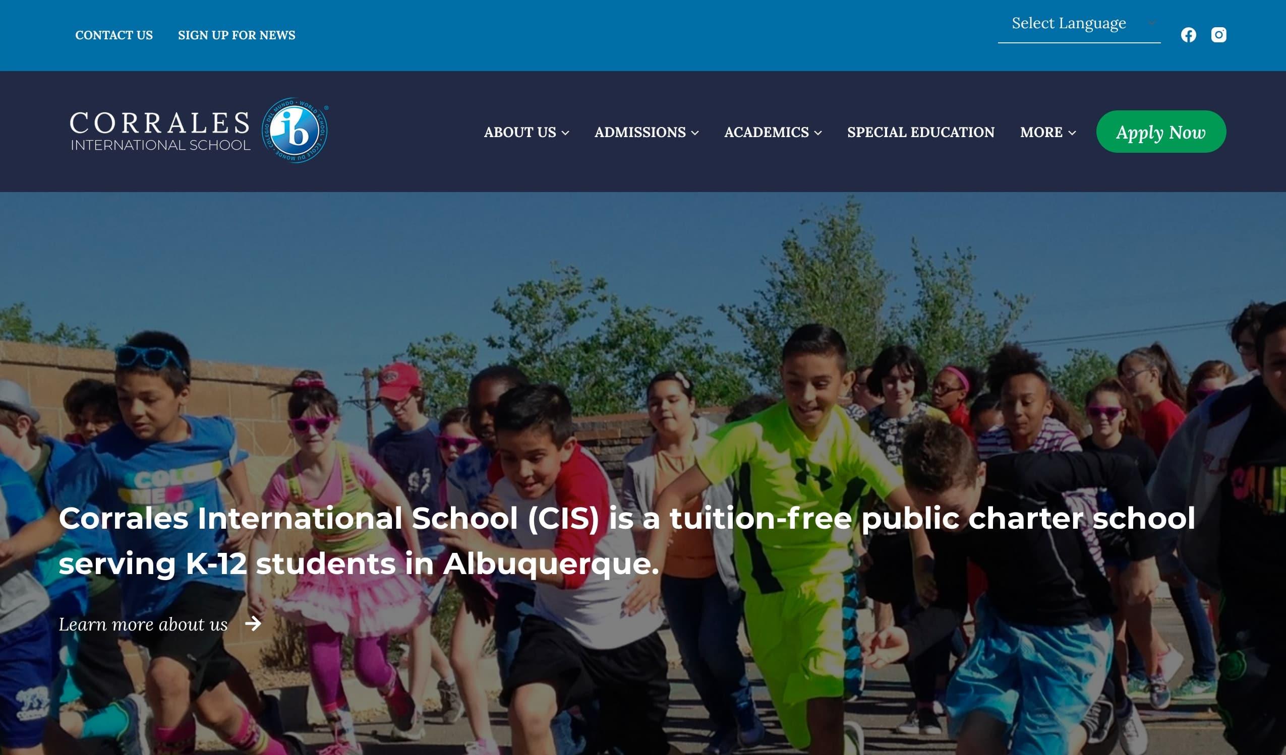 Screenshot of Public Charter International School is Better Represented with a New Website