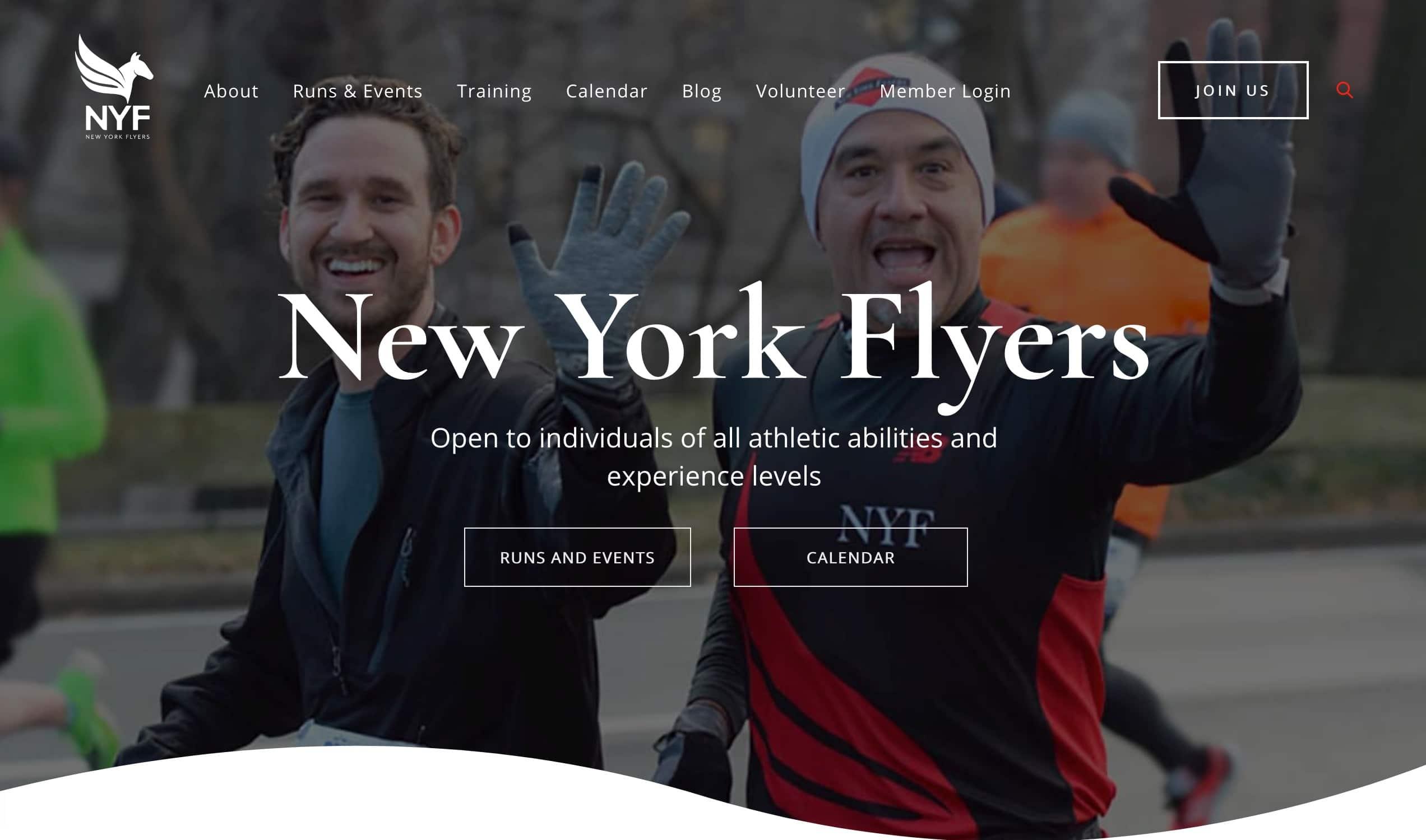 Screenshot of Runner's Club Enjoys Fast New Website