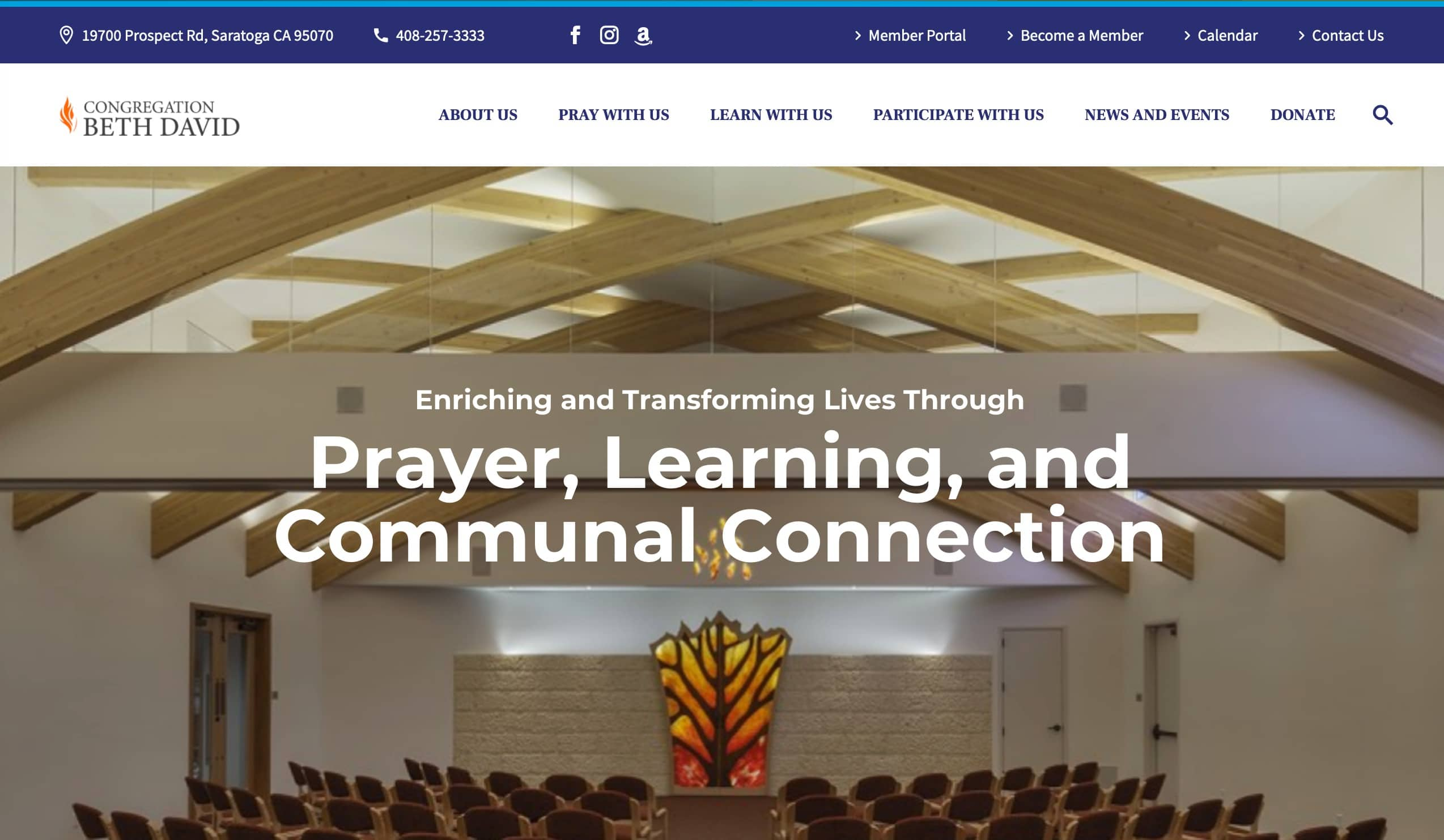Screenshot of Inclusive Synagogue Reaches Out with New Website