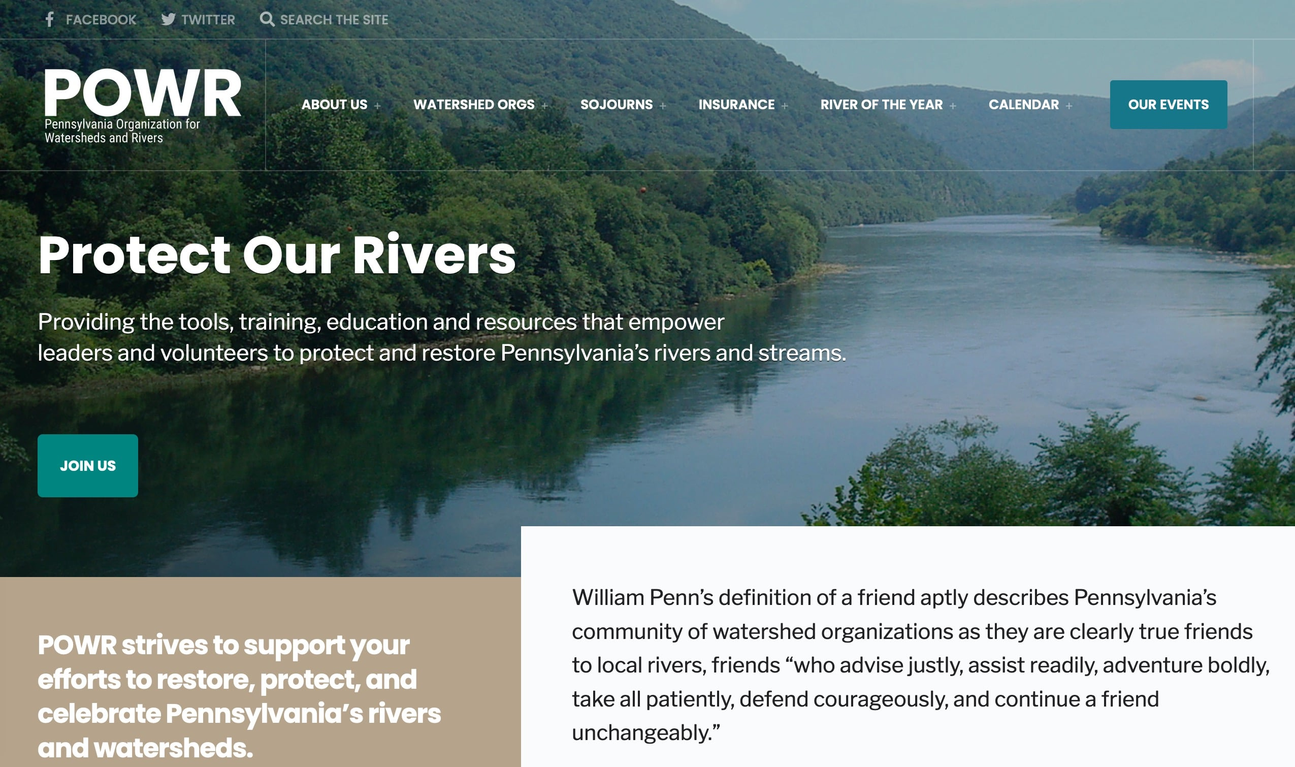 Screenshot of Pennsylvania Organization Needs New Website to Share Watershed Information
