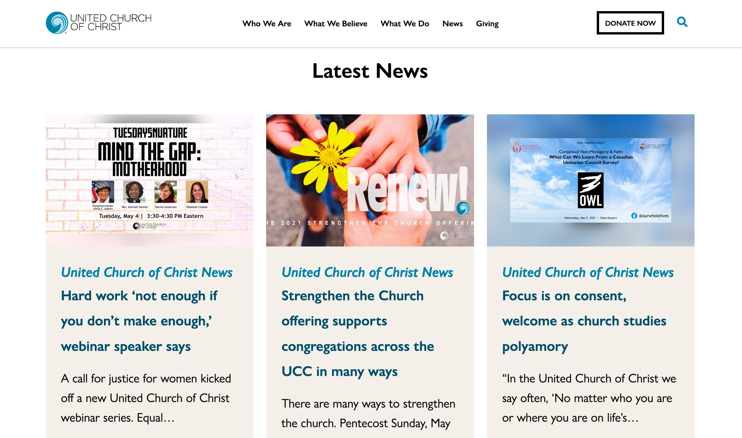 Screenshot of UCC Upgrades Technology and Launches a New Website