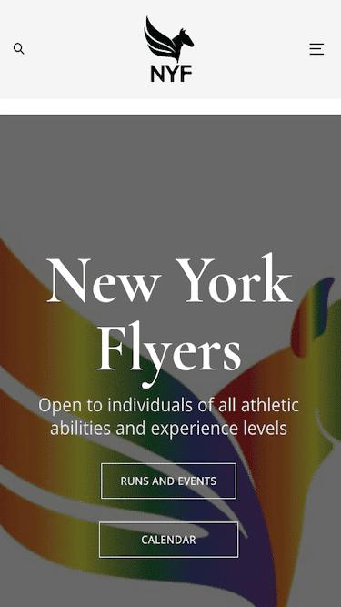 Screenshot of New York Flyers Mobile Website