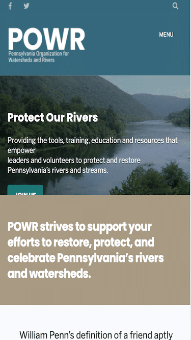 Screenshot of Pennsylvania Organization for Watersheds and Rivers Mobile Website