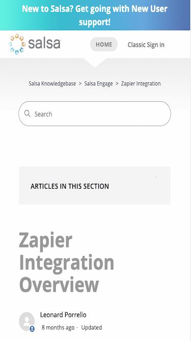 Screenshot for Salsa Labs Zapier Integration Mobile