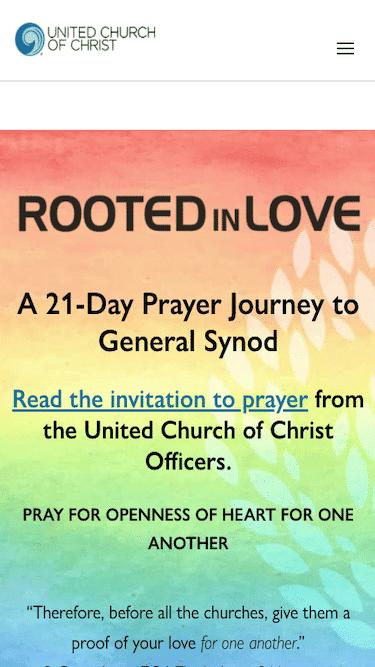 Screenshot of United Church of Christ Mobile Website