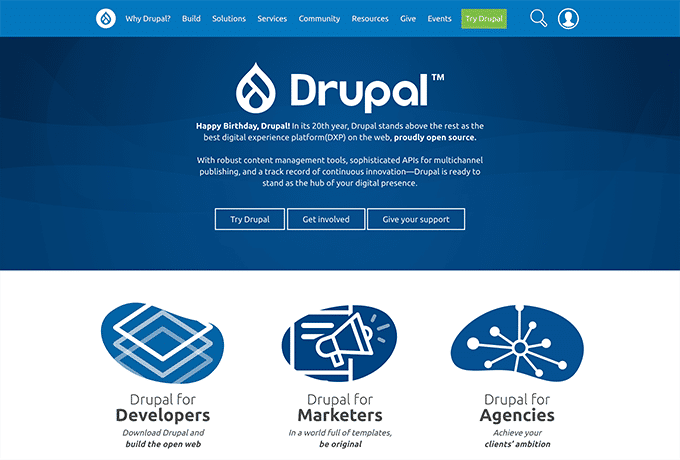 Learn more about Drupal by visiting their website.