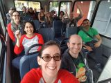 Group picture of the Cornershop team in matching red and gray shirts on our way to another event (not to the Bridge Conference, but still fun!)