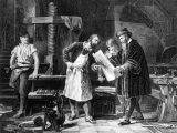 An historical image of men learning how to use Gutenberg's printing press, akin to learning how to use WordPress' new block editor.