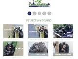 A screenshot of Chimp Haven's eCard campaign shows six panels of chimps in different positions with different graphics overlaying the images.